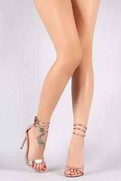 Liliana Triple Ankle Strap Open Toe Stiletto Heel