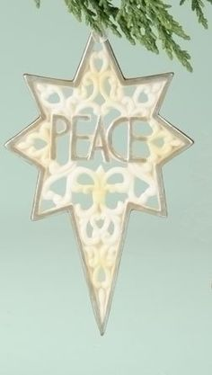 """$4.99-$0.00 5"""" Christmas Morning Porcelain Star of Bethlehem """"Peace"""" Ornament - From the Christmas Morning Collection Item #36079 Decorative porcelain ornament is shaped like the star of Bethlehem and depicts the word """"Peace"""" Flat-backed, one sided ornament Comes ready-to-hang on a white ribbon Dimensions: 5""""H x 3""""W x 0.25""""D Material(s): porcelain http://www.amazon.com/dp/B0043CIAYY/?tag=pin2wine-20"""