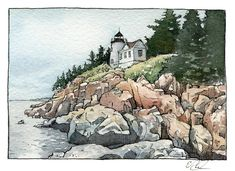 EOBrownArt: Bass Harborhead Lighthouse, Mount Desert Island, Acadia, Maine, 3 x 4 inches, ink and watercolor