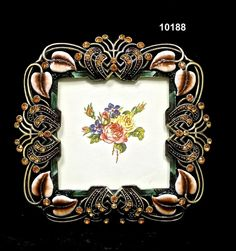 Frame/Square Calla LilyBrass/Pewter  Glass Enameled  Swarovski Crystals/Austrian Crystals  Handmade in Asia $29.95