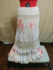 BUY IT NOW! Hippie Peasant Skirt 7 Lace & Cotton Tiers etc. Size M 100% Cotton Neutral Color  | eBay