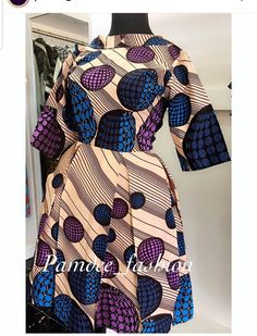 Skater dress with three cutter sleeves available Pric African Attire, African Wear, African Women, African Dress, African Print Fashion, Africa Fashion, African Prints, Ankara Dress Styles, Curvy Fashion