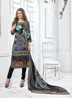 35c183b53d Black Wholesale Straight Salwar Kameez In Pashmina Fabric Indian Outfits,  Indian Dresses, Cod Free