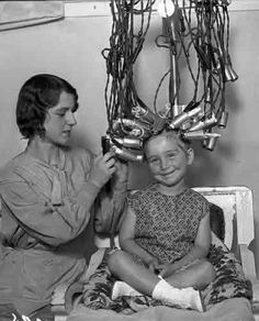 vintage image - Little lady getting a hair perm