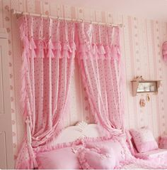 Korean Style Princess Little Red Rose Polka Dots Curtain Lovely Windowtreatment Curtain for Bedroom(two Panels) Polka Dot Curtains, Ruffle Curtains, Shabby Chic Curtains, 50s Bedroom, Curtain Store, Pastel Interior, Cute Cottage, Little Red, Red Roses