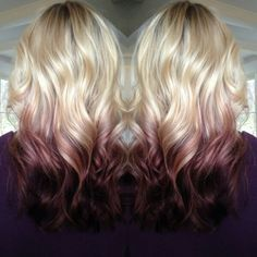 red on blonde medium hair ombre - Google Search
