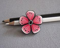 Broche fleur rose broche pâte polymère fimo broche rose noir