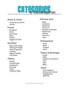Categories for Coupon Binder