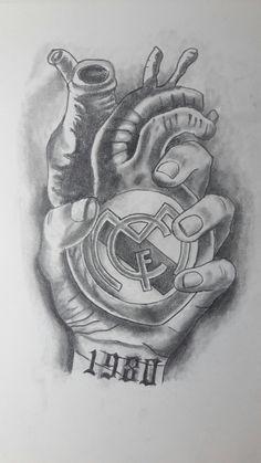 diseño corazon real madrid blanco y negro