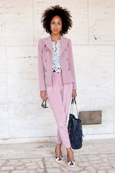 Kady Taylor at NYFW...dying over this pink suit!