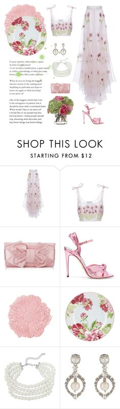 """""""Lace & Pink"""" by kim-mcculley ❤ liked on Polyvore featuring LUISA BECCARIA, Valentino, Gucci, Fitz & Floyd, Kenneth Jay Lane, Miu Miu, Diane James and http"""
