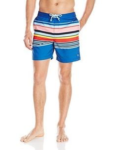 Introducing Original Penguin Mens Stripe Volley Swim Trunk True Blue 29. Great product and follow us for more updates!