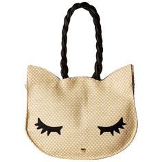 Luv Betsey Missy Woven Cat Litch (Natural) Handbags ($40) ❤ liked on Polyvore featuring bags, handbags, beige, cat handbag, straw handbags, white handbags, betsey johnson and straw purses