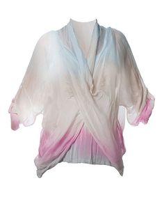Love this Baby Blue & Pink Silk-Blend Drape Surplice Top on #zulily! #zulilyfinds