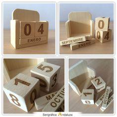 Calendario de cubos de madera marcado en láser, ideal para saber en que día…