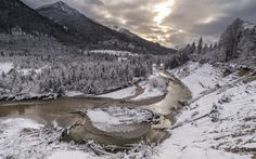 Download wallpapers winter, mountain river, winter mountain landscape, forest, snow