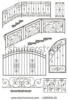 Vector set: wrought iron wicket, stairs railing, fence and window grilles isolated on white background by Egorova Julia, via Shutterstock Mais Wrought Iron Stair Railing, Wrought Iron Fences, Railings, Stair Handrail, Iron Gate Design, Iron Furniture, Grill Design, Railing Design, Iron Work