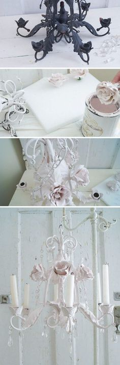 Shabby Chic Faux Tole Chandelier