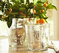 Etched Mercury Glass Cachepot | Pottery Barn - large $12.99