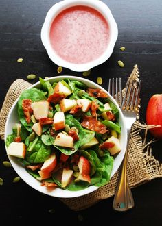Apple, Bacon & Spinach Salad with Sweet Red Onion Vinaigrette (GF, DF, Egg… Bacon Spinach Salad, Dairy Free Diet, Gluten Free, Spring Salad, Allergy Free Recipes, Thanksgiving Side Dishes, Nut Free, Grain Free, Healthy Salad Recipes