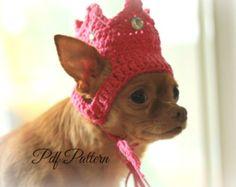 pattern crochet dog hat~crown~princess~king~ photo prop~ small dog~ easy~pdf pattern~digital download~