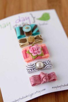 make lots of ribbon covered hair snaps