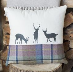 LIMITED AVAILABILITY This gorgeous deer family cushion in Spring Tweed is perfect for any nature lover or trail walker and would make a perfect addition to any Deer Family, Handmade Cushions, Tweed, Projects To Try, Throw Pillows, Deco, Sewing, Birch, Fabric