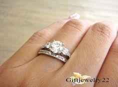 1.36 Ct. Ladies 14K White Gold Over Diamond Engagement Wedding Bridal Ring Set #giftjewelry22