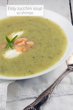 Zucchini soup with shrimps and a hint of lemon basil. It's a divine combination that's ready in less than half an hour. Serves 6 people.