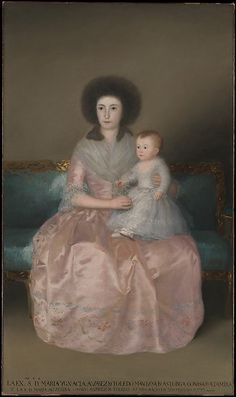 #MetKids Fun Fact: Goya, who created this portrait of a mother and daughter from the Altamira family, also painted this young girl's brother. You can find him playing with his pets in a gallery upstairs in the Museum. | Goya (Francisco de Goya y Lucientes) (Spanish, 1746–1828). Condesa de Altamira and Her Daughter, María Agustina, 1787–88. The Metropolitan Museum of Art, New York. Robert Lehman Collection, 1975 (1975.1.148)