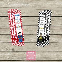 Lego Super Hero Superman Batman Birthday Thank You Bookmarks Cards Printable DIY Lego Movie
