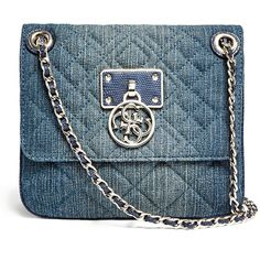 GUESS Aliza Convertible Denim Cross-Body ($108) ❤ liked on Polyvore featuring bags, handbags, shoulder bags, blue denim, purse, crossbody purse, quilted crossbody and blue handbags