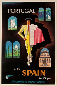 Original Vintage Pan Am Travel Poster Portugal and Spain by Clipper