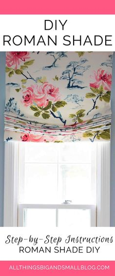 Easily make your own DIY Roman Shades using this step-by-step tutorial! This relaxed Roman Shade is easy to make and sew! See instructions for making your own roman shades using fabric and fabric rings here! Diy Curtains, Curtains With Blinds, Sewing Curtains, Bedroom Curtains, Diy Roman Blinds, Window Blinds, Blinds Diy, Kitchen Curtains, Small Curtains