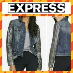 🎉SALE🎉Express Metallic Sleeve Denim Jacket Blue denim body with black crinkle metallic sleeves. Cotton. Smoke/pet-free home. 💞Thanks for checking out my closet!💞 Express Jackets & Coats Jean Jackets