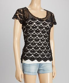 Look what I found on #zulily! Black Short-Sleeve Crocheted Top by Whispers #zulilyfinds