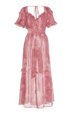 Ebony Ruffled Tie-Dye Silk Dress by LoveShackFancy | Moda Operandi