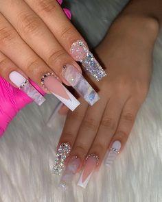 𝑻𝑨𝑵𝒀𝑨 𝑪𝑬𝑳𝑬𝑵𝑬🦋 (@tanyacelene) posted on Instagram • Aug 14, 2020 at 8:59pm UTC Bling Acrylic Nails, White Acrylic Nails, Halloween Acrylic Nails, Best Acrylic Nails, Summer Acrylic Nails, Bling Nails, Swag Nails, Cute Acrylic Nail Designs, Coffin Nail Designs