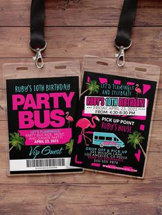 Limo Party, Vip Pass, Water Party, Thing 1, Welcome To The Party, Party Signs, 10th Birthday, Favor Tags, Birthday Invitations