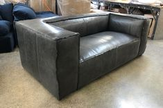 "The Bonham Leather Sofa has grown more and more popular over the last several years. Many of our customers love the simple shape, reverse seam detail, and comfortable feather and down topped seat. This customer wanted a specific grey, and found the right shade in a color of our Italian Domaine Leather called Cool Grey. Available in 6 to 12 foot lengths and 2 depths (41"" and 47"" overall)  Build your own Bonham: https://www.leathergroups.com/shop/Bonham-Leather-Sofa.html"