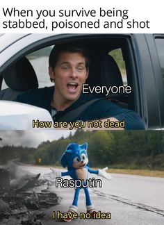 It is a scene from the new movie Sonic the Hedgehog where the character Tom Wachowski is wondering how the sonic stayed alive after that scene. The Internet is full of memes about this scene and we bring you the best ones. Best Memes, Dankest Memes, Funny Memes, Funny Cute, The Funny, Hilarious, History Jokes, Work Memes, Work Humor
