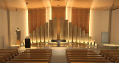 980 IMG Presbiterio 01 Church Interior Design, Church Stage Design, Modern Interior, Religious Architecture, Church Architecture, Interior Architecture, Architecture Religieuse, Lds Temple Pictures, Altar Design
