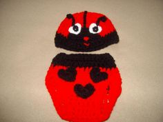 Baby girl lady bug hat and diaper cover set