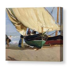 Fishermen Beached Boat, Valencia - Joaquin Sorolla Canvas Print / Canvas Art by PaintingAssociates Georges Braque, Georges Seurat, Theo Van Gogh, Frank Stella, Pierre Bonnard, Spanish Painters, Spanish Artists, Manet, Norman Rockwell