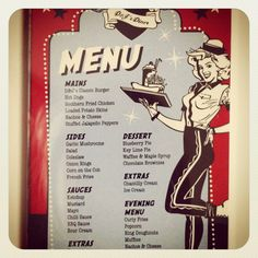 Our menu and part of our wedding stationary for our 50's rockabilly American diner theme