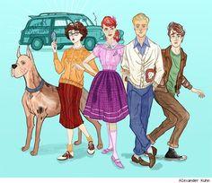 ooooh this is a fun retro look at Scooby doo.I so love Scooby! Hanna Barbera, Cartoon Art, Cartoon Characters, Starwars, Scooby Doo Mystery Incorporated, Shaggy Rogers, Retro, Daphne Blake, Velma Dinkley