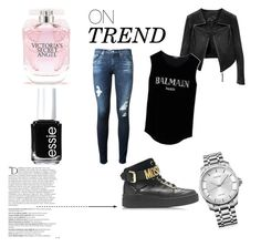 trendy by bloomjovana on Polyvore featuring Balmain, Linea Pelle, AG Adriano Goldschmied, Moschino, Calvin Klein, Victoria's Secret, Essie and modern
