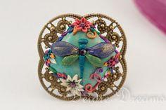 - SOLD - Dragon Fly Ring  Marie Antoinette Summer Flowers by DeidreDreams, €19.95