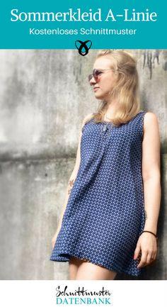 b86ab655f00dcc Sommerkleid Kleid für Frauen Longtop A-Linie kostenloses Schnittmuster  Gratis-Nähanleitung Sommerkleid Kinder