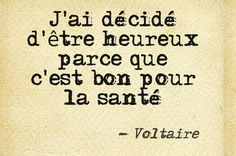 ~ Voltaire I have decided to be happy because it is good for my health. Image Citation, Quote Citation, Meaningful Quotes, Inspirational Quotes, Quotes To Live By, Me Quotes, French Quotes, English Quotes, Clever Quotes